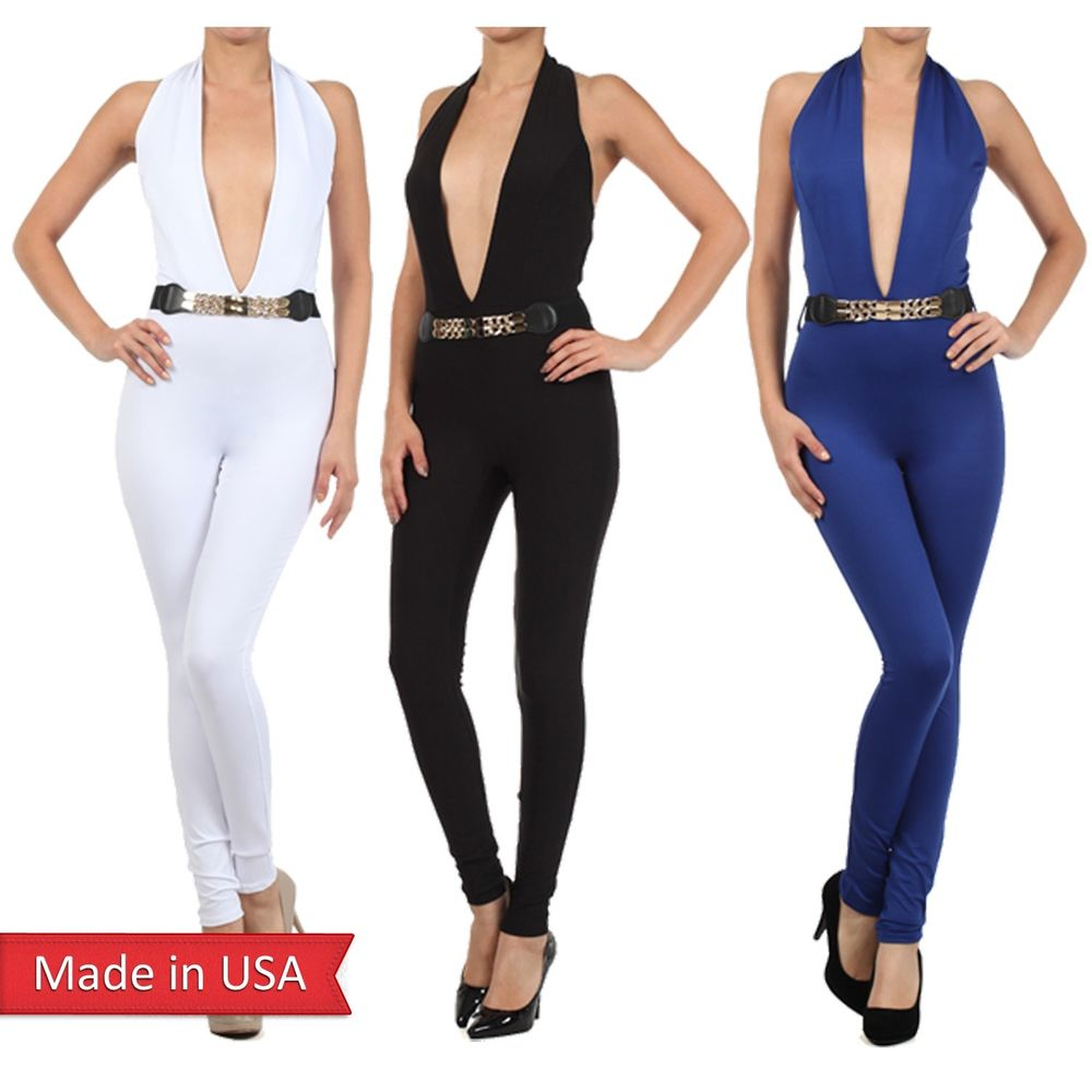 Sleeveless Deep V Neck Catsuit Bodysuit Jumpsuit Rompers Pants Trousers Belt USA