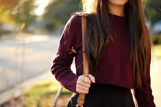 blouse fall outfits burgundy wine red fall sweater crop tops shirt red berry jewels sweater vintage back to school burgundy sweater burgundy jumper cropped jumper jumper red wine cropped sweater purple sweater