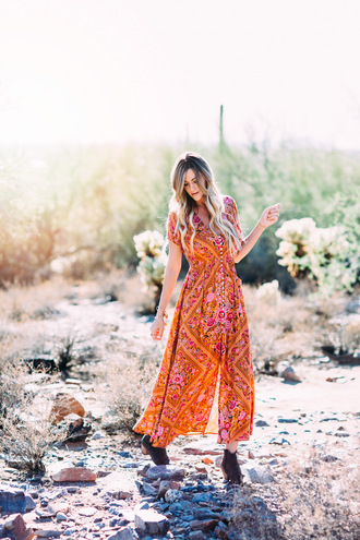 a little dash of darling blogger dress shoes jewels orange dress maxi dress button up floral maxi dress printed dress floral dress boots mid heel boots brown boots boho boho dress summer outfits short sleeve button up dress