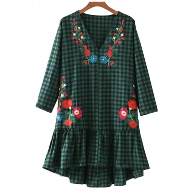 'Ciel' Floral Green Plaid Dress