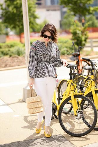 polishedclosets blogger top jeans bag sunglasses shoes summer outfits white pants yellow shoes spring outfits