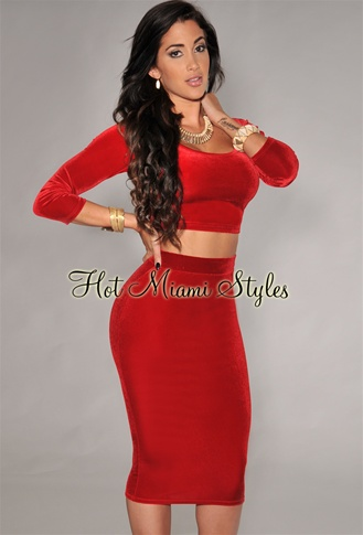 Red 3/4 Sleeves Velvet Two Piece Set