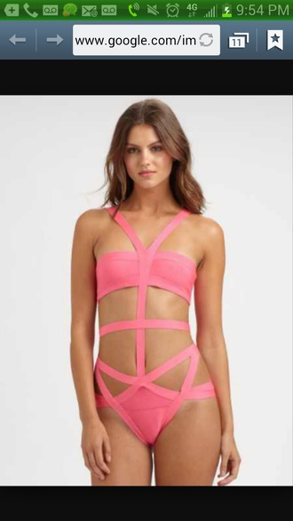 swimwear sexy swimsuit pink swimwear one piece swimsuit cut-out swimsuit