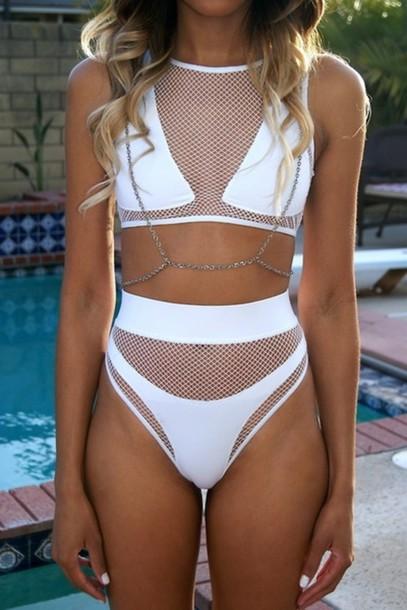 27f9ee0f68 swimwear white jewels bikini high waisted bikini mesh jewelry swimwear sexy  swimwear print chain dress two