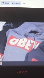 sweater,obey sweatshirt