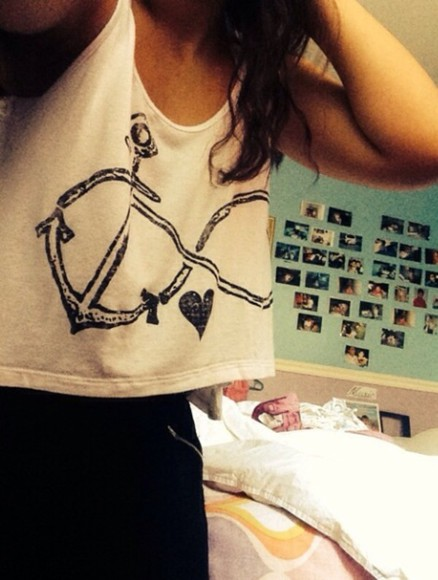 anchor crop tops top infinity