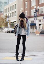 shoes,black beanie,scarf,light blue jacket,black jeans,combat boots,blogger