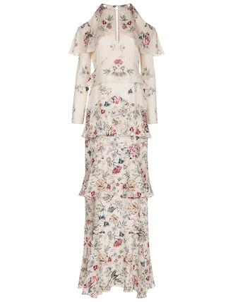 gown floral silk dress