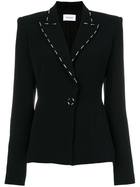 MUGLER blazer women spandex embellished black jacket