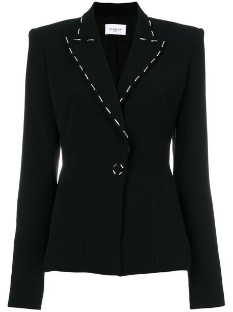 MUGLER blazer women spandex embellished black jacket