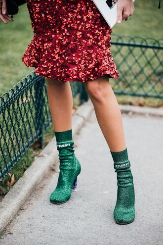 shoes tumblr boots ankle boots sock boots green boots high heels boots glitter glitter shoes glitter boots skirt midi skirt red skirt sequins sequin skirt fashion week 2017 streetstyle