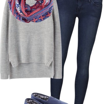 sweater jeans grey blue navy orange infinity tons skinny toms scarf red