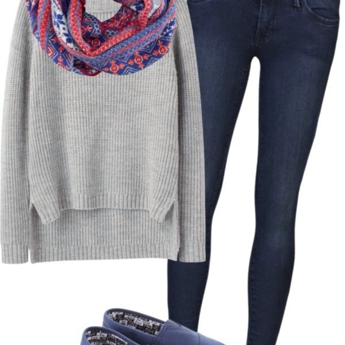 sweater jeans grey blue orange skinny infinity navy tons toms scarf red