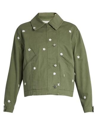 jacket utility jacket embroidered floral khaki