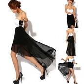 irregular dress,black dress,irregular dresses,asymmetric dress,dancing party evening dress,irregular strapless dress,chiffon dress,dress