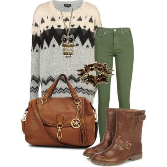 owl sweater pants autumn