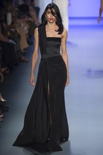 dress gown black dress prom dress runway model ny fashion week 2016 cushnie et ochs