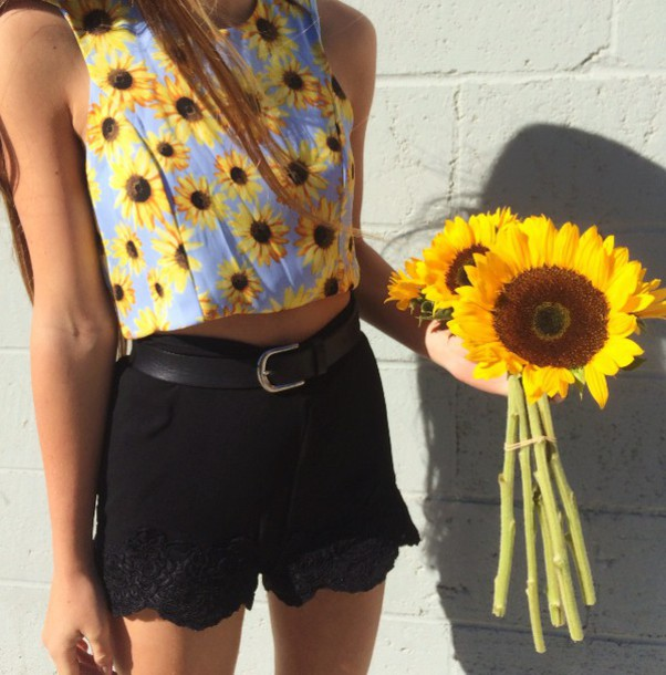 tank top shorts top flowers sunflower