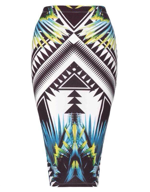 New Ladies Tribal Atztec Print Skirt Womens Bodycon Pencil Midi Wiggle Skirt