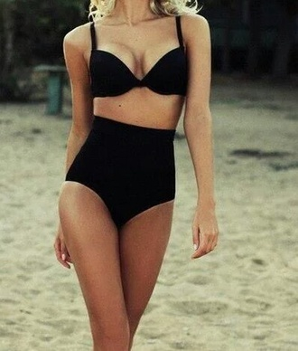 swimwear bikini high waisted bikini high waisted shorts little black dress cool fashion tumblr outfit black bikini