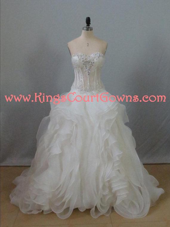 Replica Couture Ruffle Organza Sheer Bodice Corset Wedding Dress Gown Chapel Train