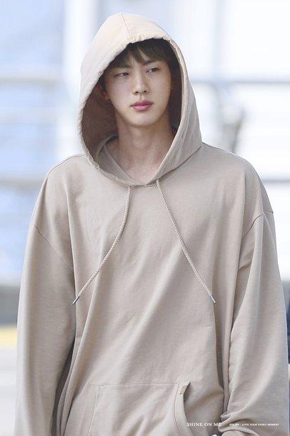 sweater jin seokjin hoodie kpop bts bagtan jungkook jimin taehyung namjoon yoongi hoseok airport fashion