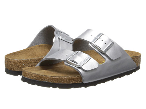 Birkenstock Arizona Soft Footbed Silver Birko-Flor - Zappos.com Free Shipping BOTH Ways