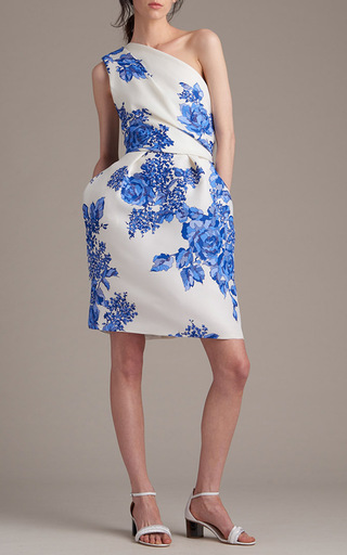 Rose Print Gazar One Shoulder Dress by Monique Lhuillier | Moda Operandi