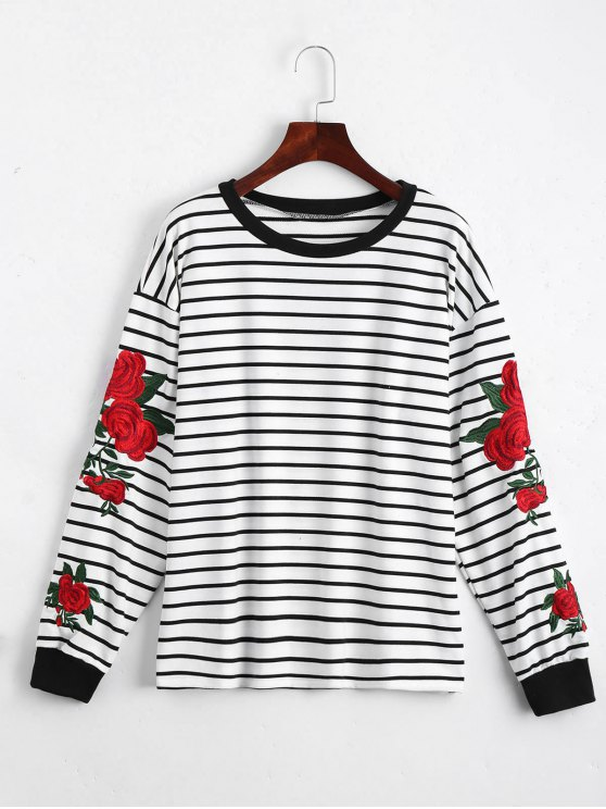 3470a1608 Floral Patched Striped Sweatshirt