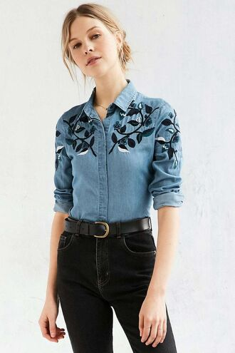 shirt embroidered shirt embroidered denim shirt denim jeans black jeans belt black belt