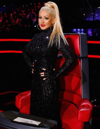 dress turtleneck long sleeve dress christina aguilera sequins black dress sparkle