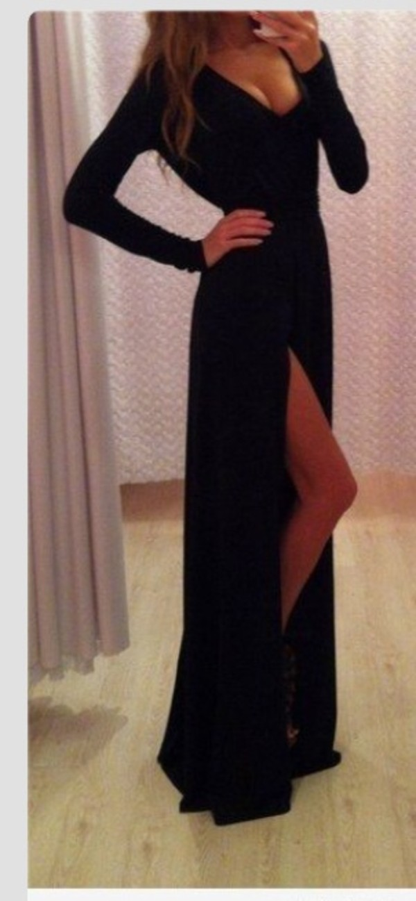 dress black dress black prom dress black dress long sleeves formal dress v neck dress long prom dress