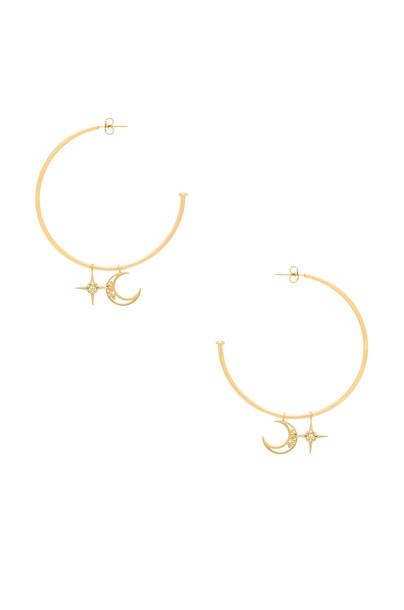 WANDERLUST + CO celestial earrings hoop earrings metallic gold jewels