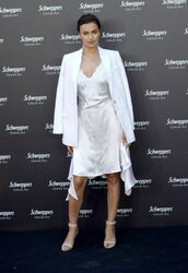 dress,camisole,satin dress,irina shayk,midi dress,sandals,jacket,blazer,white,slip dress