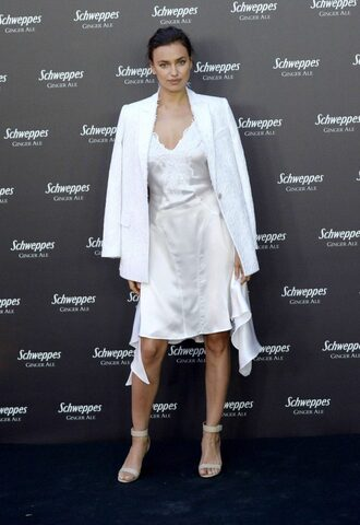 dress camisole satin dress irina shayk midi dress sandals jacket blazer white slip dress