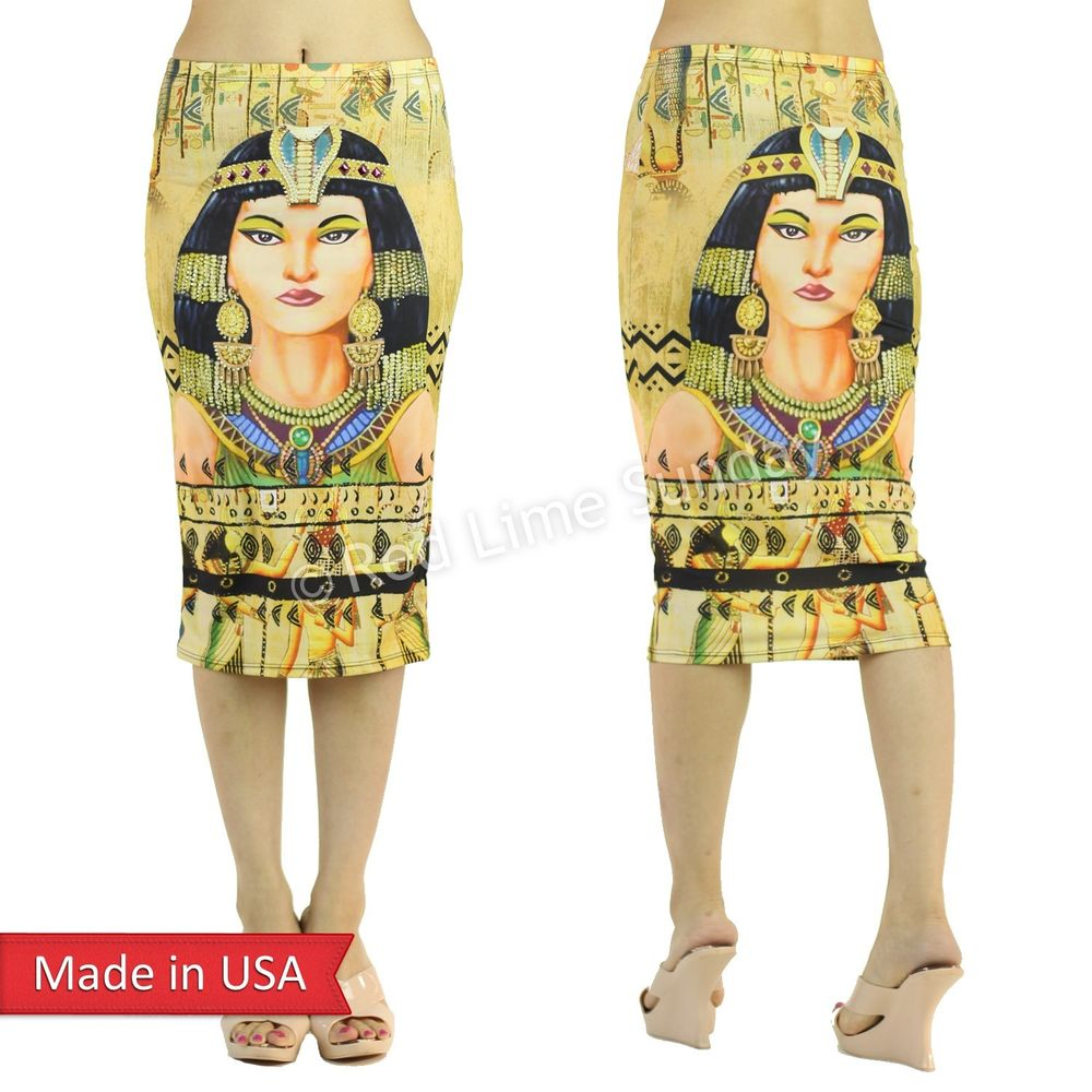 Jeweled Gem Egyptian Pharaoh Cleopatra Egypt Art Pattern Print Pencil Skirt USA