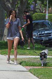 shoes,nina dobrev,shorts,sneakers,top,shirt,bag,summer outfits,summer,sunglasses,stripes,white shorts