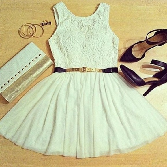 floaty blue dress white pretty cute clutch short pale cream ivory colour beautiful cut party prom mini roses pattern belt high heels purse love this white dress beutiful girl hipster bag