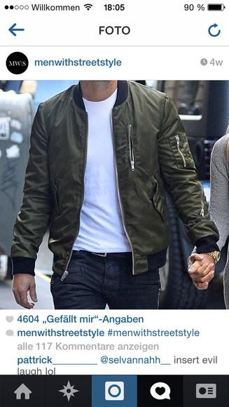 jacket bomber jacket khaki menswear mens jacket