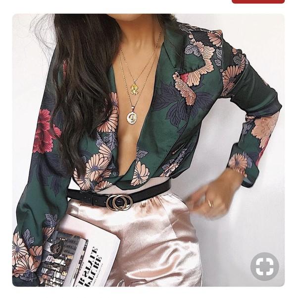 blouse satin blouse green flowers shirt top birds chinese chiffon suit elegant