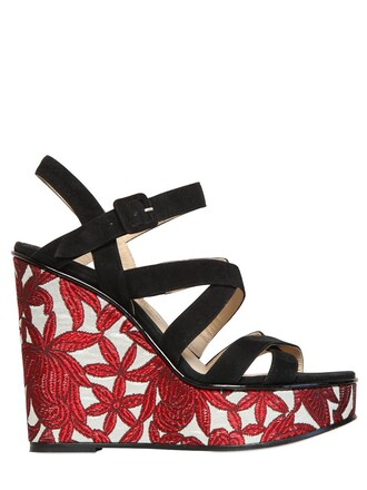 jacquard wedges suede black red shoes