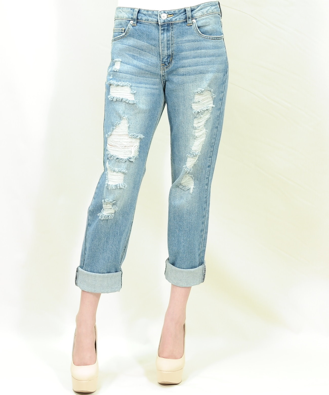 Distressed boyfriend jeans – Pinkracks
