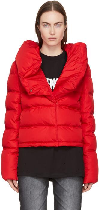 coat ruffle red