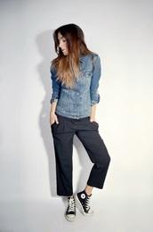 quality rivets,blogger,converse,culottes,denim jacket,casual,jacket,pants,shoes
