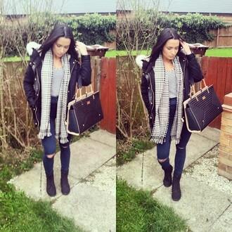 manteau noir doudoune winter coat topshop bag jeans t-shirt blouse