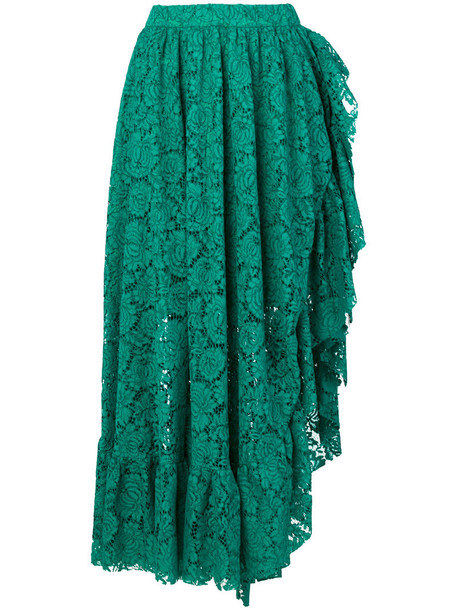 Philosophy di Lorenzo Serafini skirt ruffle women lace cotton green