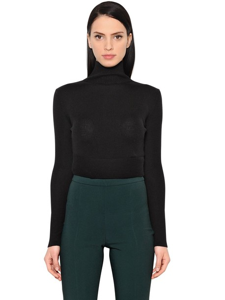ANTONIO BERARDI Wool & Silk Cropped Sweater in black