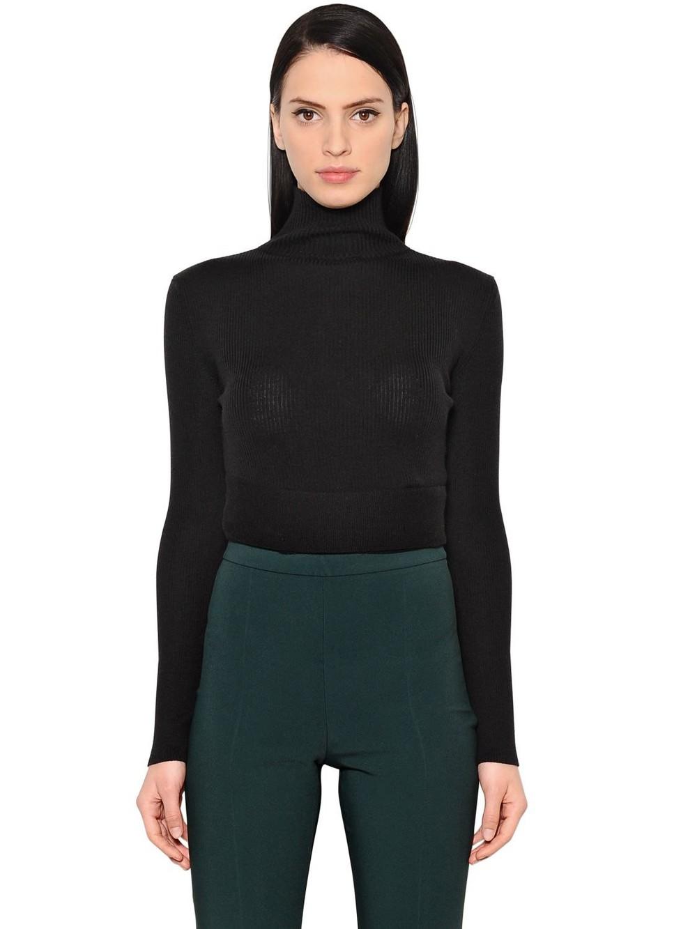 ANTONIO BERARDI Wool & Silk Cropped Sweater in black