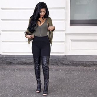 heels high heels black leather jacket olive green bodysuit zip bomber jacket leggings fall outfits trendy fashion