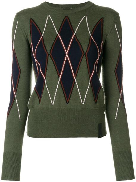 jumper women print wool green sweater